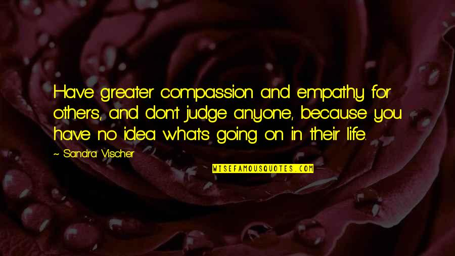 Don't Judge Others Quotes By Sandra Vischer: Have greater compassion and empathy for others, and