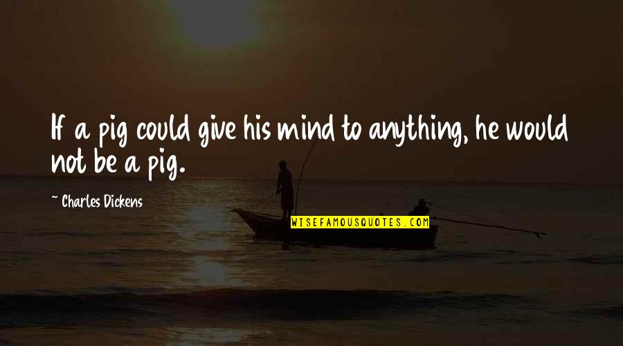 Don't Look Down On Others Quotes By Charles Dickens: If a pig could give his mind to
