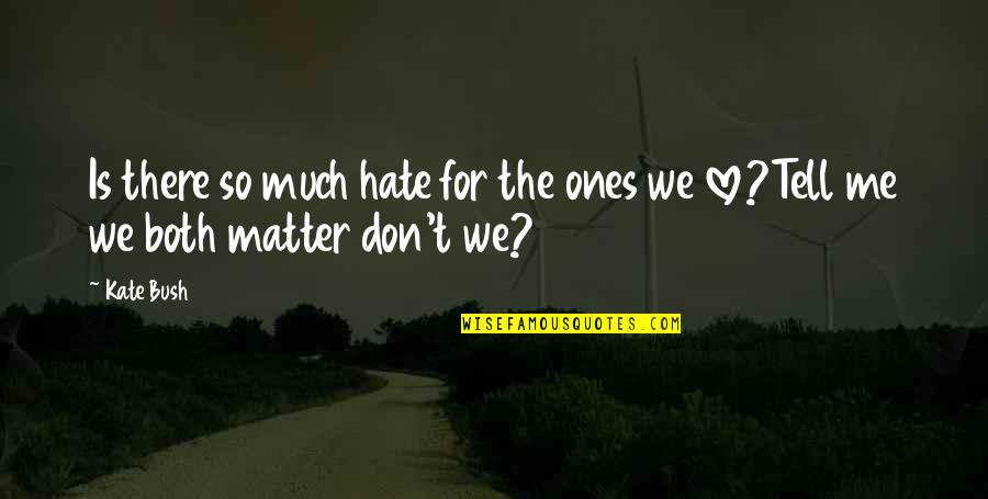 Don't Love Me So Much Quotes By Kate Bush: Is there so much hate for the ones