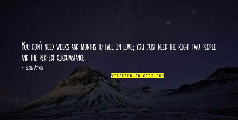 Don't Need Love Quotes By Elena Aitken: You don't need weeks and months to fall