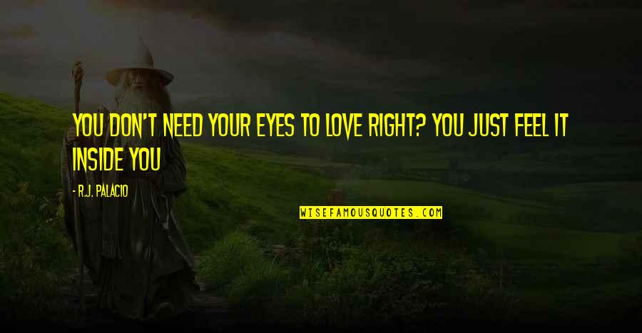 Don't Need Love Quotes By R.J. Palacio: You don't need your eyes to love right?
