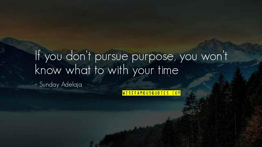 Don't Pursue Quotes By Sunday Adelaja: If you don't pursue purpose, you won't know