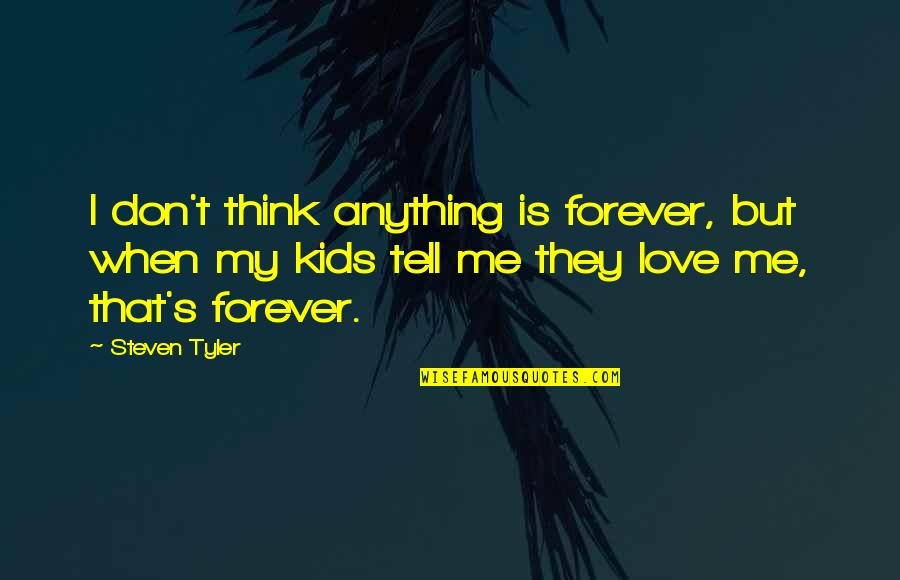 Don't Tell Me You Love Me When You Don't Quotes By Steven Tyler: I don't think anything is forever, but when