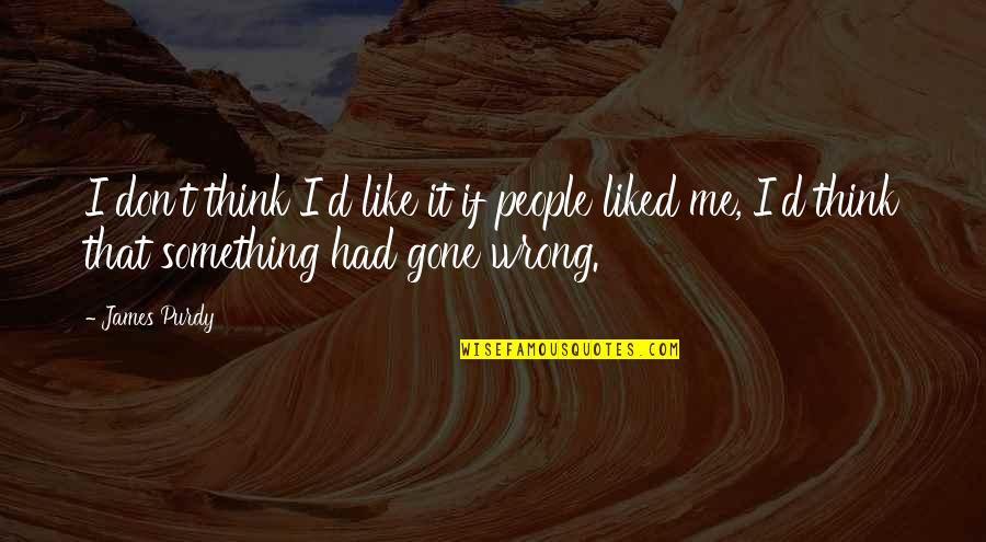 Don't Think Wrong Quotes By James Purdy: I don't think I'd like it if people