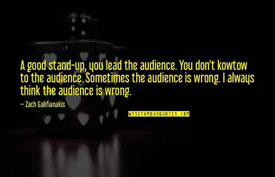 Don't Think Wrong Quotes By Zach Galifianakis: A good stand-up, you lead the audience. You