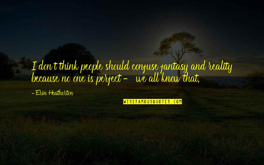 Don't Think You Are Perfect Quotes By Erin Heatherton: I don't think people should confuse fantasy and