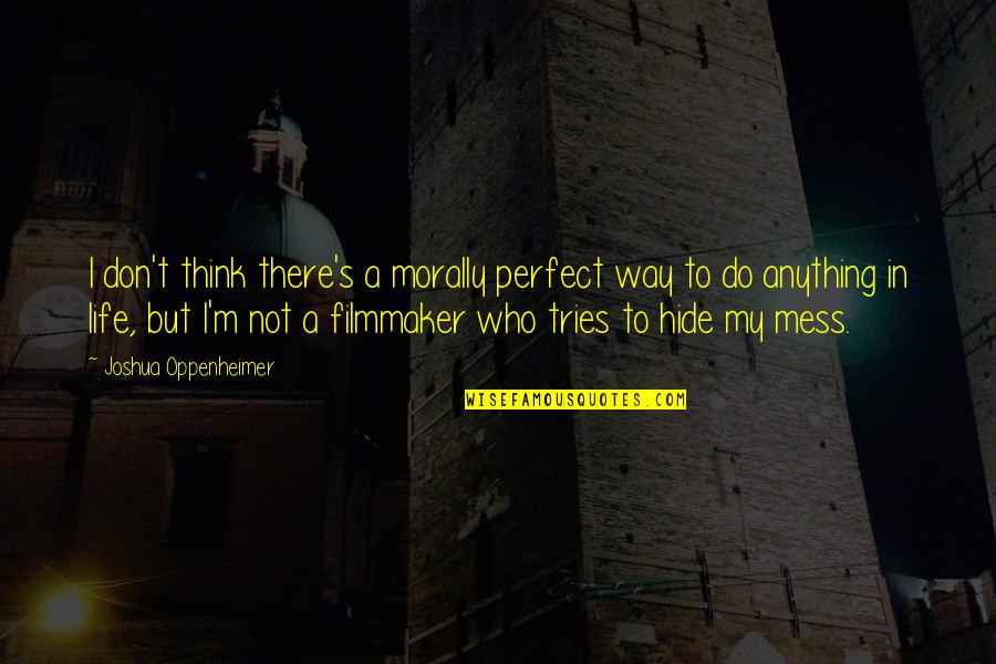 Don't Think You Are Perfect Quotes By Joshua Oppenheimer: I don't think there's a morally perfect way