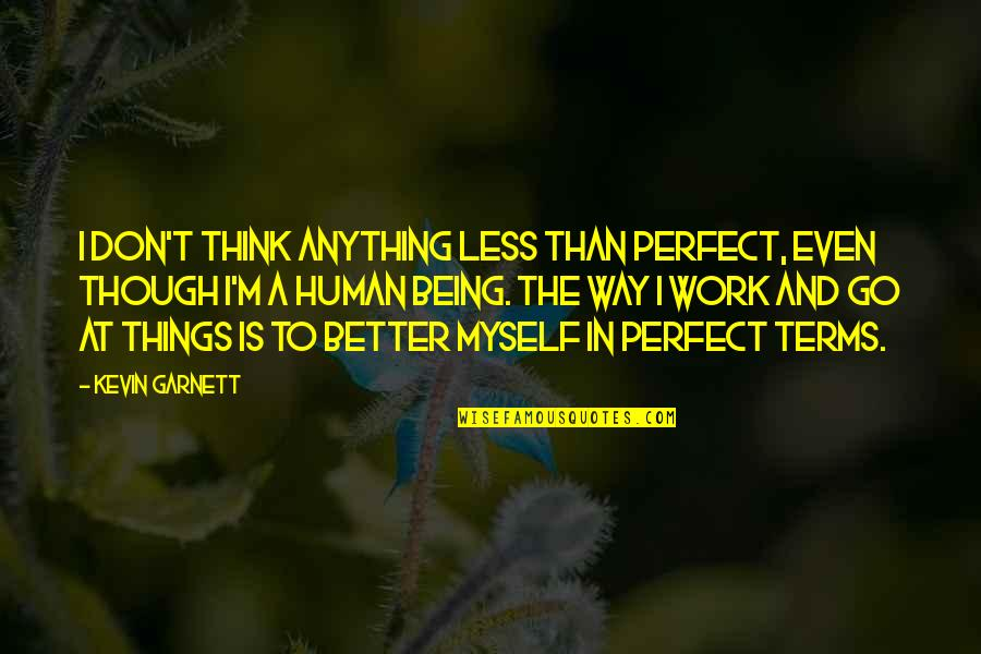Don't Think You Are Perfect Quotes By Kevin Garnett: I don't think anything less than perfect, even