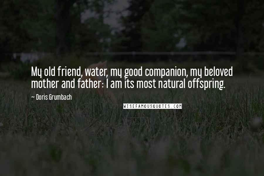 Doris Grumbach quotes: My old friend, water, my good companion, my beloved mother and father: I am its most natural offspring.
