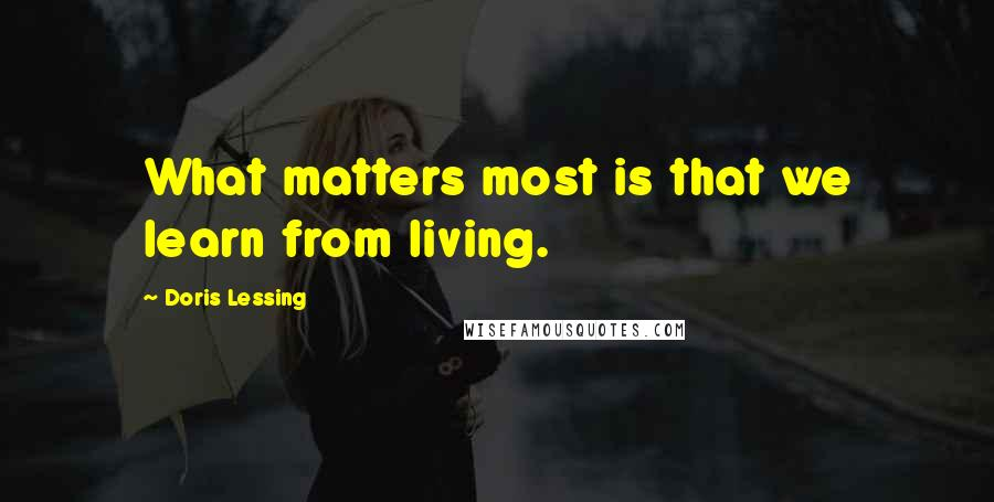 Doris Lessing quotes: What matters most is that we learn from living.