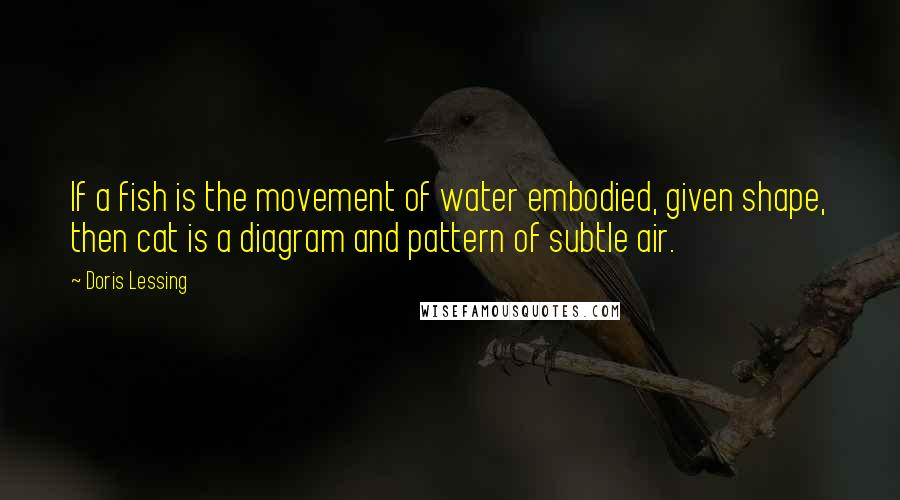 Doris Lessing quotes: If a fish is the movement of water embodied, given shape, then cat is a diagram and pattern of subtle air.