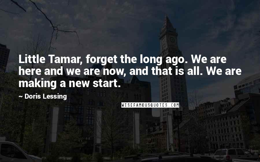 Doris Lessing quotes: Little Tamar, forget the long ago. We are here and we are now, and that is all. We are making a new start.