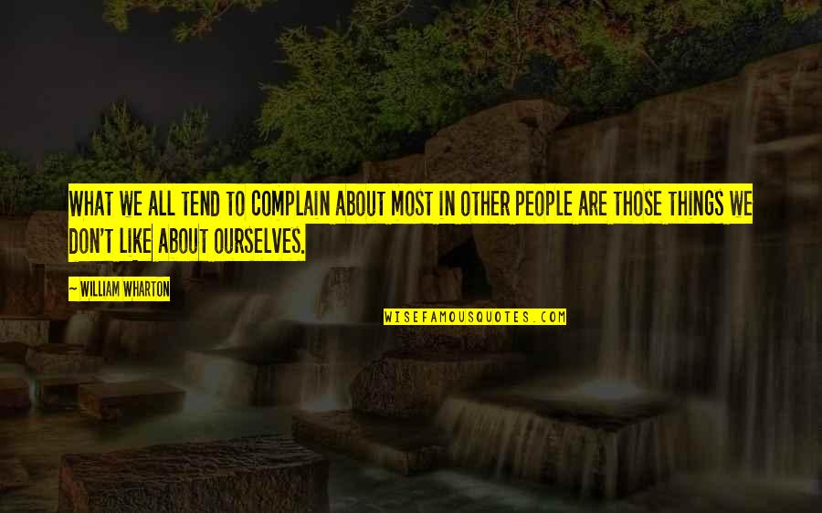 Dorpat Quotes By William Wharton: What we all tend to complain about most