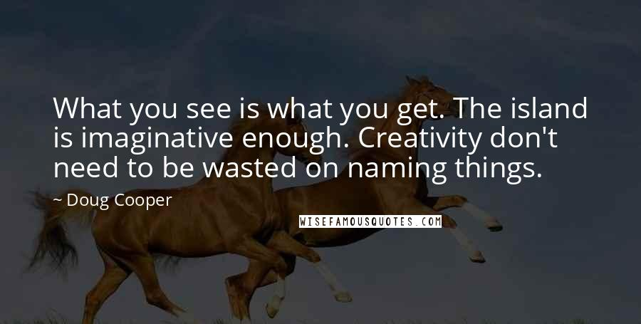 Doug Cooper quotes: What you see is what you get. The island is imaginative enough. Creativity don't need to be wasted on naming things.