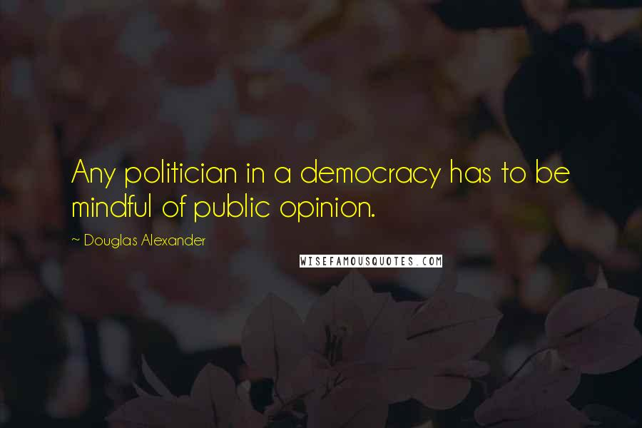 Douglas Alexander quotes: Any politician in a democracy has to be mindful of public opinion.