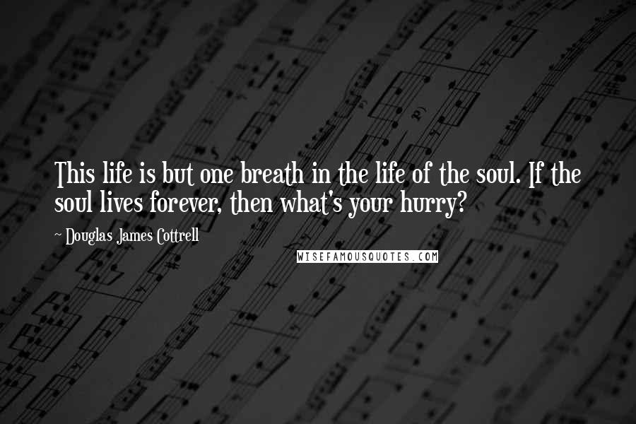Douglas James Cottrell quotes: This life is but one breath in the life of the soul. If the soul lives forever, then what's your hurry?