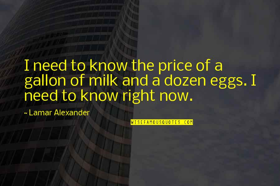 Dozen Quotes By Lamar Alexander: I need to know the price of a