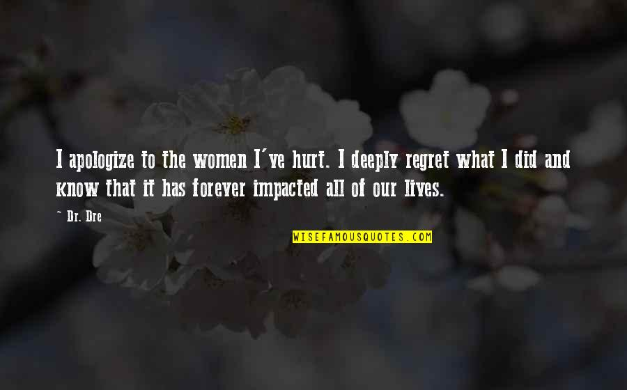 Dr Dre Quotes By Dr. Dre: I apologize to the women I've hurt. I