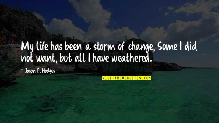 Dr House Meanest Quotes By Jason E. Hodges: My life has been a storm of change,