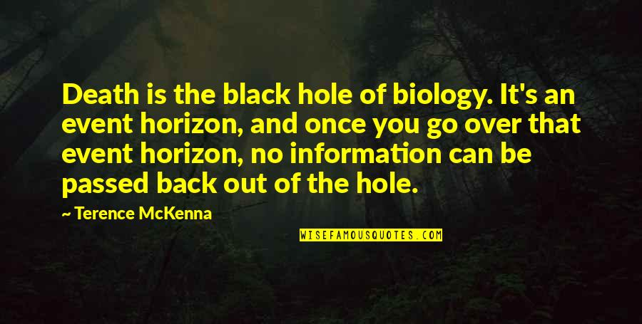 Dr John Hagelin Quotes By Terence McKenna: Death is the black hole of biology. It's