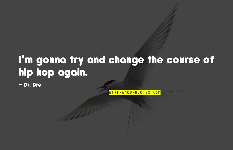 Dr.radhakrishnan Quotes By Dr. Dre: I'm gonna try and change the course of