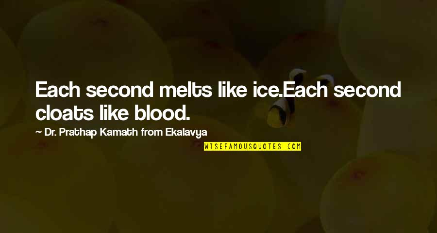 Dr.radhakrishnan Quotes By Dr. Prathap Kamath From Ekalavya: Each second melts like ice.Each second cloats like