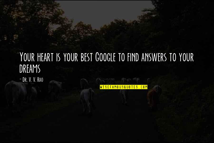 Dr.radhakrishnan Quotes By Dr. V. V. Rao: Your heart is your best Google to find