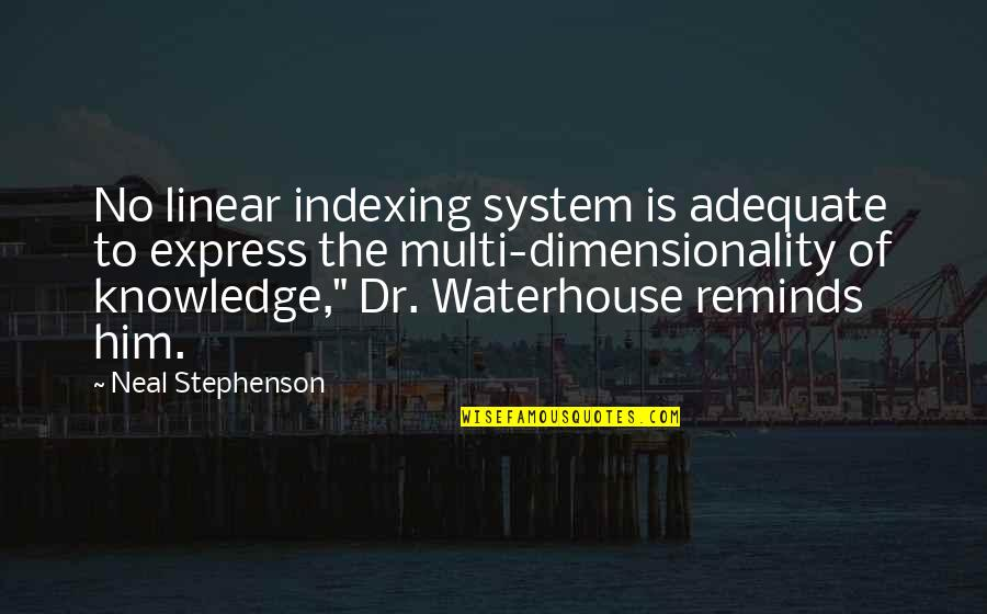 Dr.radhakrishnan Quotes By Neal Stephenson: No linear indexing system is adequate to express