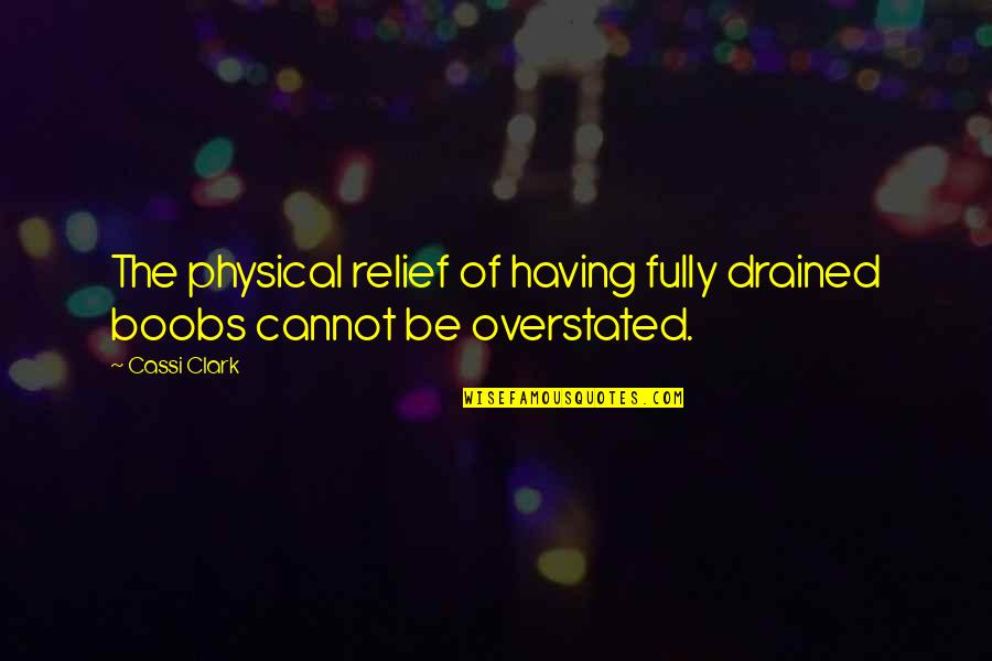 Drained Quotes By Cassi Clark: The physical relief of having fully drained boobs