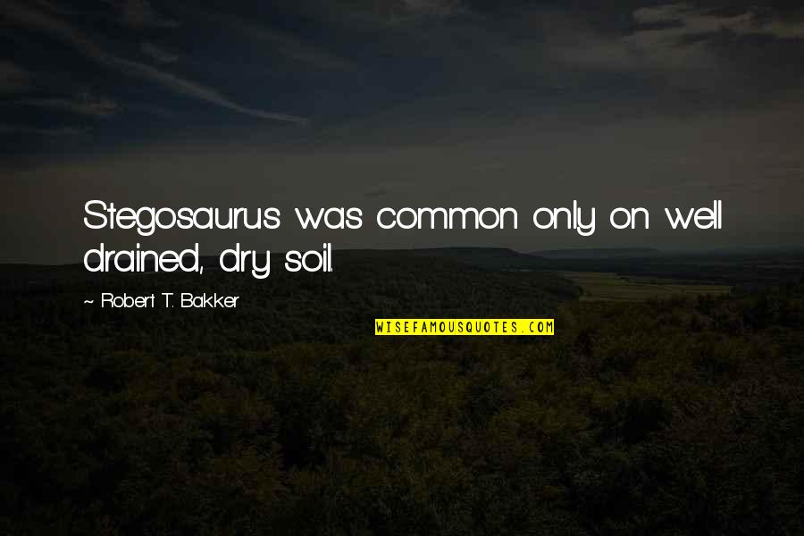 Drained Quotes By Robert T. Bakker: Stegosaurus was common only on well drained, dry