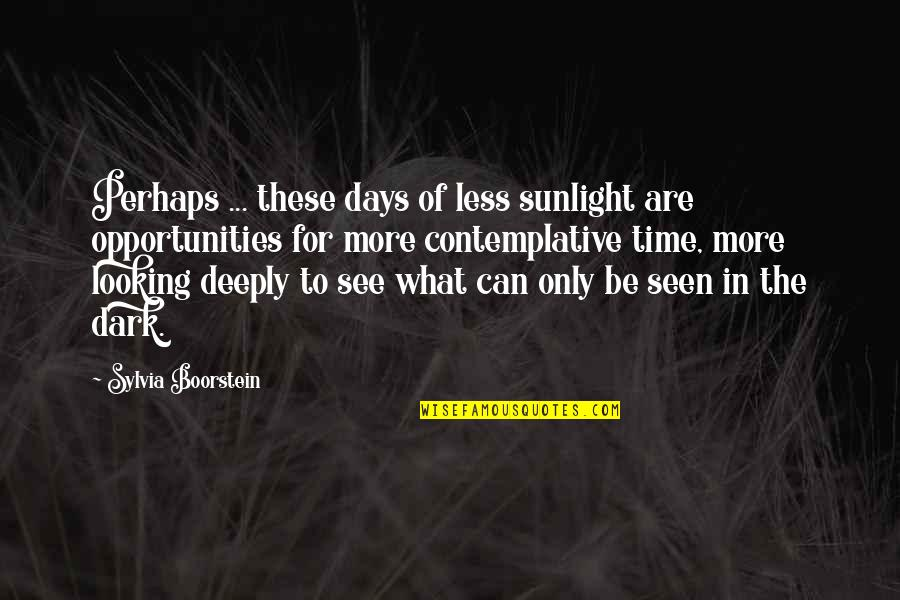 Dramaticit's Quotes By Sylvia Boorstein: Perhaps ... these days of less sunlight are
