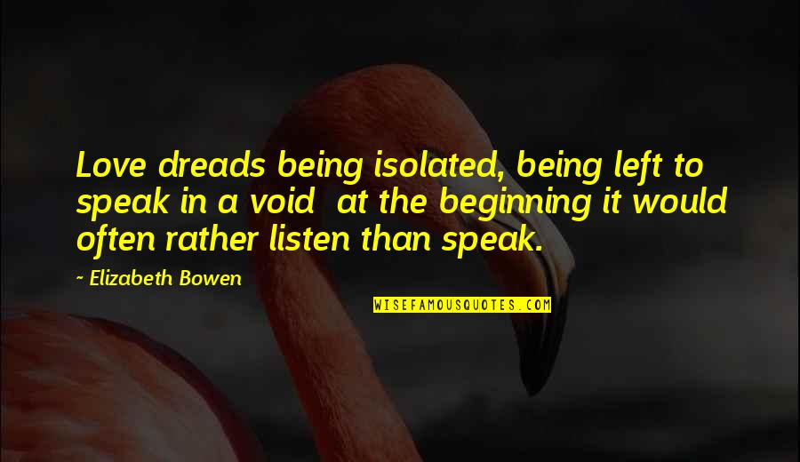 Dreads Love Quotes By Elizabeth Bowen: Love dreads being isolated, being left to speak