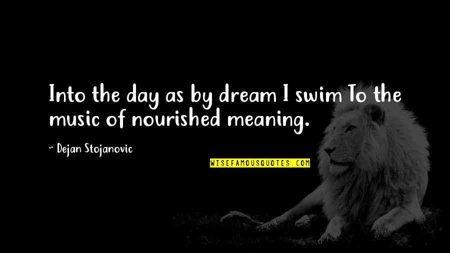 Dream All Day Quotes By Dejan Stojanovic: Into the day as by dream I swim