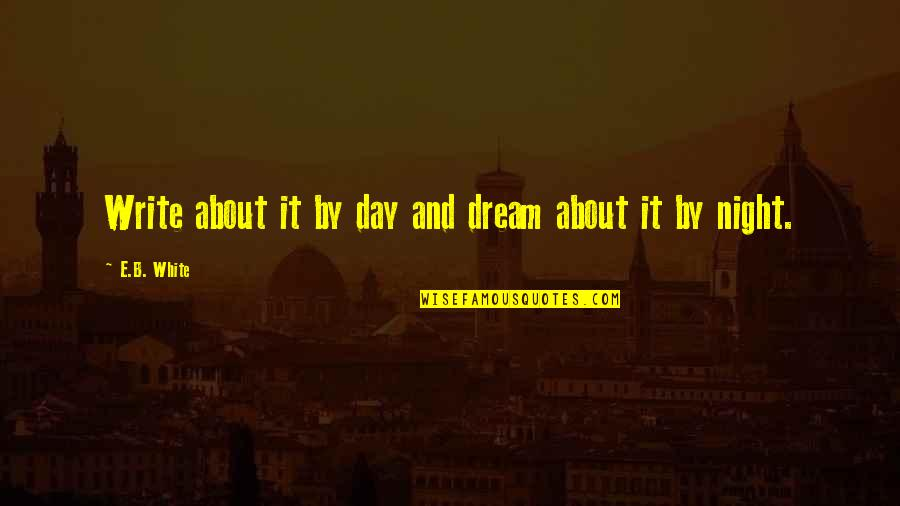 Dream All Day Quotes By E.B. White: Write about it by day and dream about