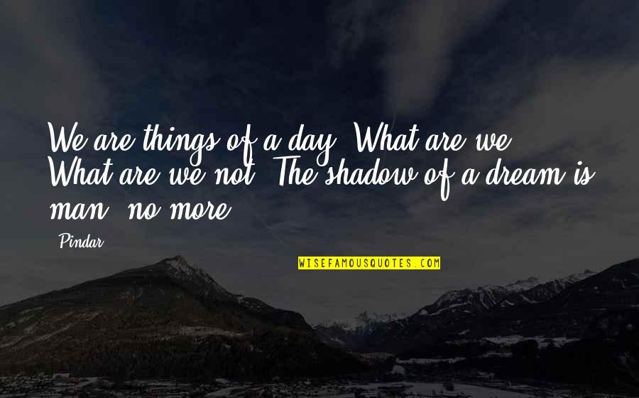 Dream All Day Quotes By Pindar: We are things of a day. What are