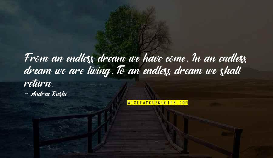 Dream Love Life Quotes By Andrea Kushi: From an endless dream we have come. In