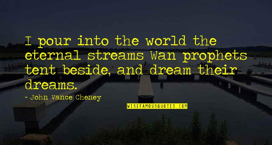 Dream World Quotes By John Vance Cheney: I pour into the world the eternal streams