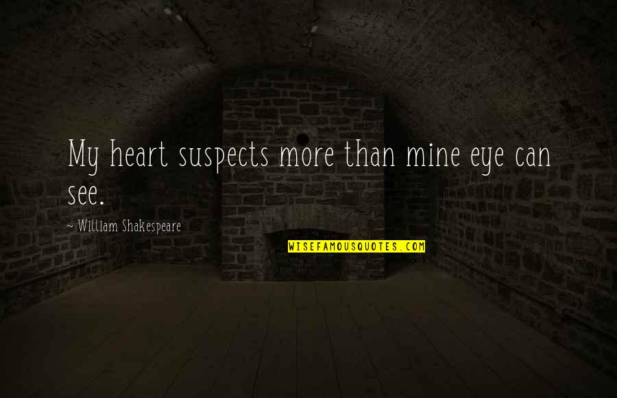Dreaming About Your Love Quotes By William Shakespeare: My heart suspects more than mine eye can