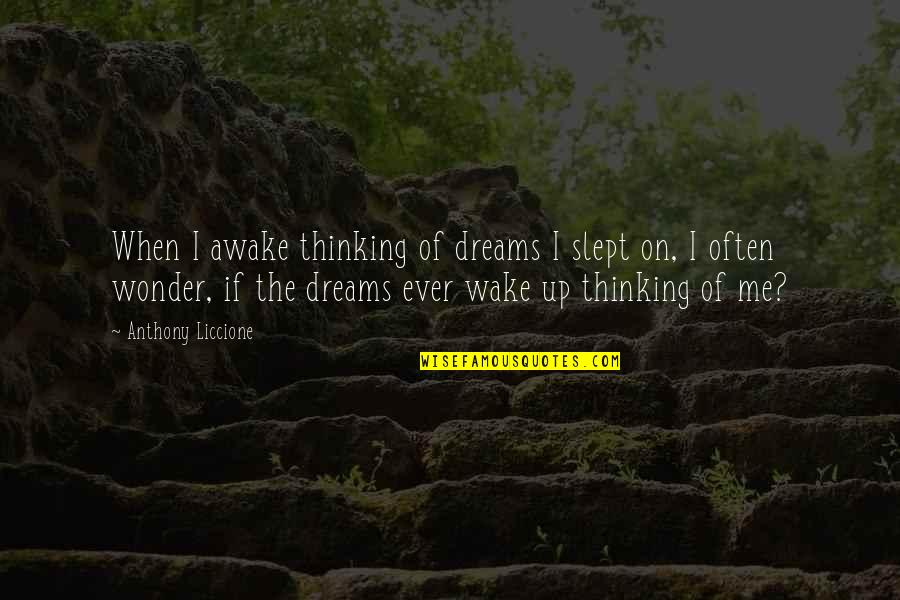 Dreaming Awake Quotes By Anthony Liccione: When I awake thinking of dreams I slept