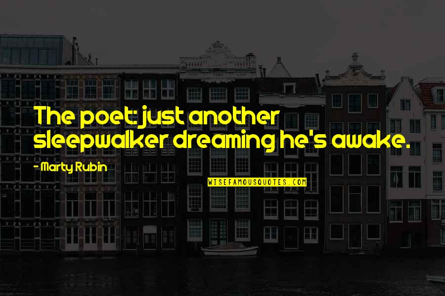 Dreaming Awake Quotes By Marty Rubin: The poet: just another sleepwalker dreaming he's awake.