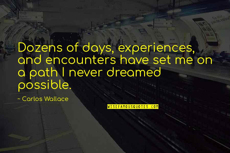 Dreaming Quotes And Quotes By Carlos Wallace: Dozens of days, experiences, and encounters have set