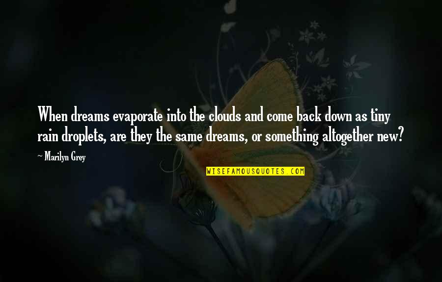 Dreams And Quotes By Marilyn Grey: When dreams evaporate into the clouds and come