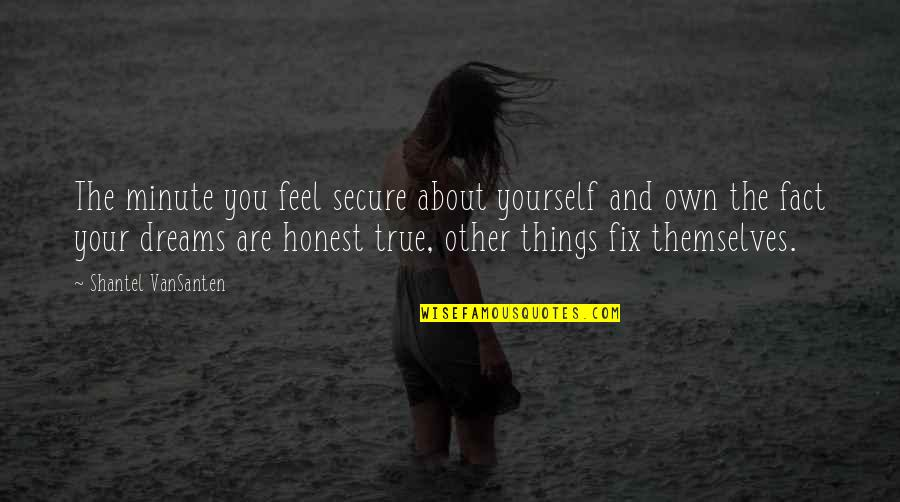 Dreams And Quotes By Shantel VanSanten: The minute you feel secure about yourself and