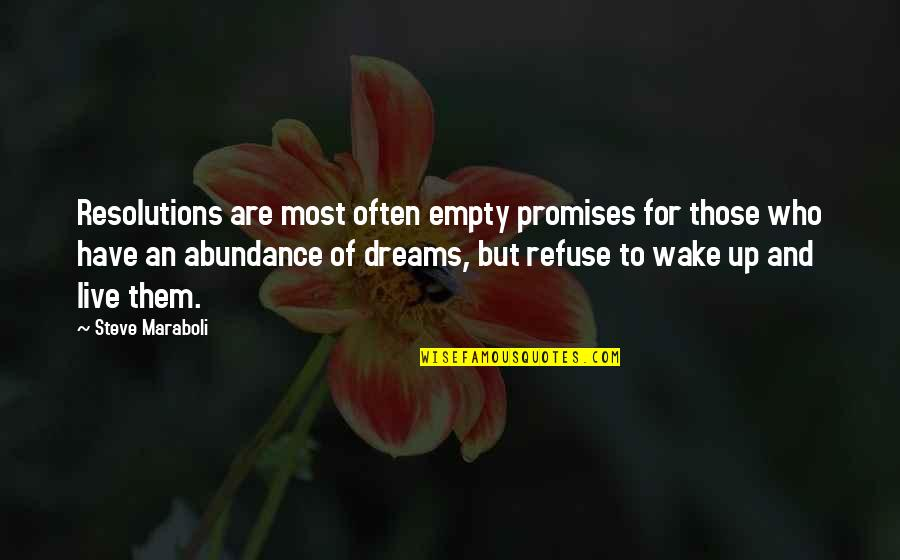 Dreams And Quotes By Steve Maraboli: Resolutions are most often empty promises for those