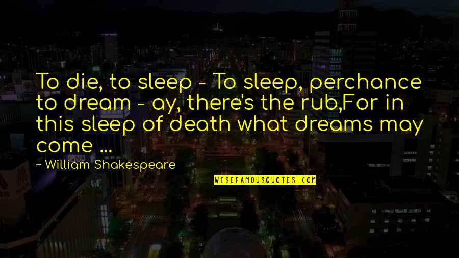 Dreams Dying Quotes By William Shakespeare: To die, to sleep - To sleep, perchance