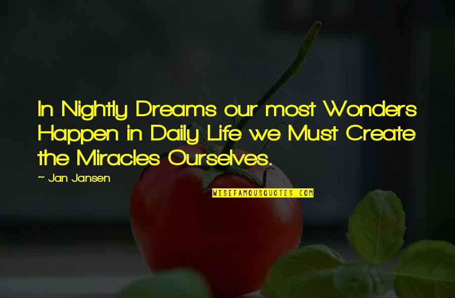 Dreams In Life Quotes By Jan Jansen: In Nightly Dreams our most Wonders Happen in