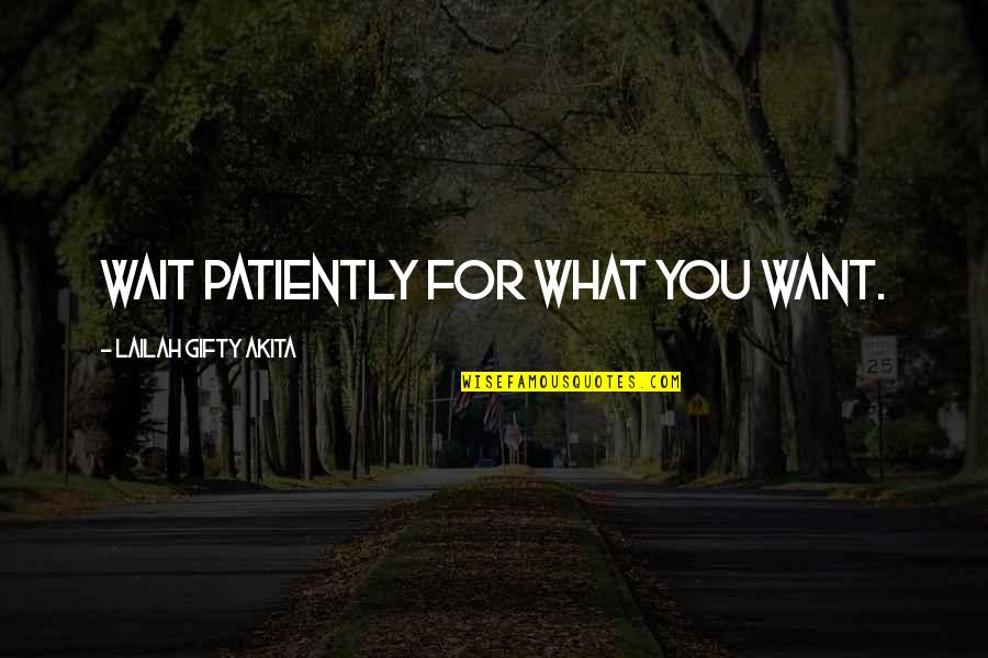 Dreams In Life Quotes By Lailah Gifty Akita: Wait patiently for what you want.