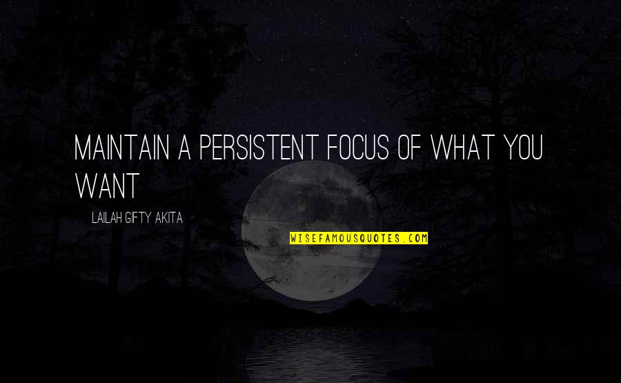 Dreams In Life Quotes By Lailah Gifty Akita: Maintain a persistent focus of what you want