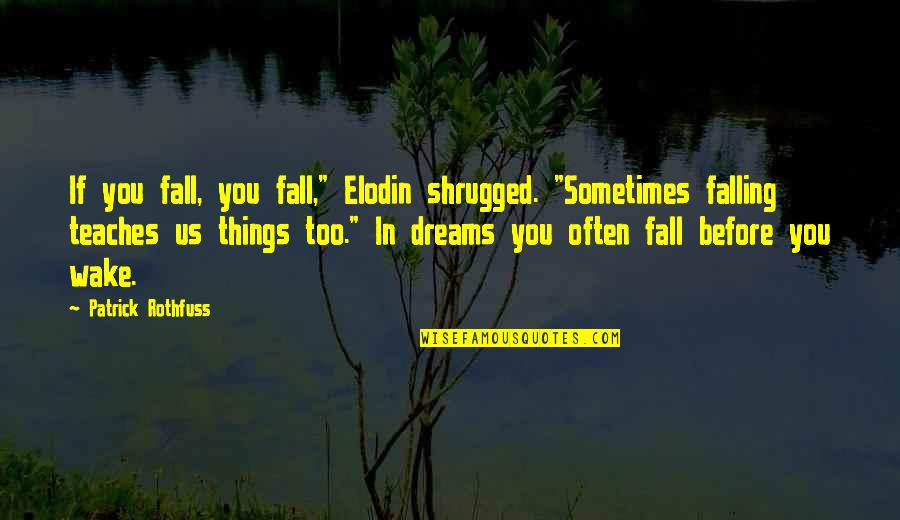 """Dreams In Life Quotes By Patrick Rothfuss: If you fall, you fall,"""" Elodin shrugged. """"Sometimes"""