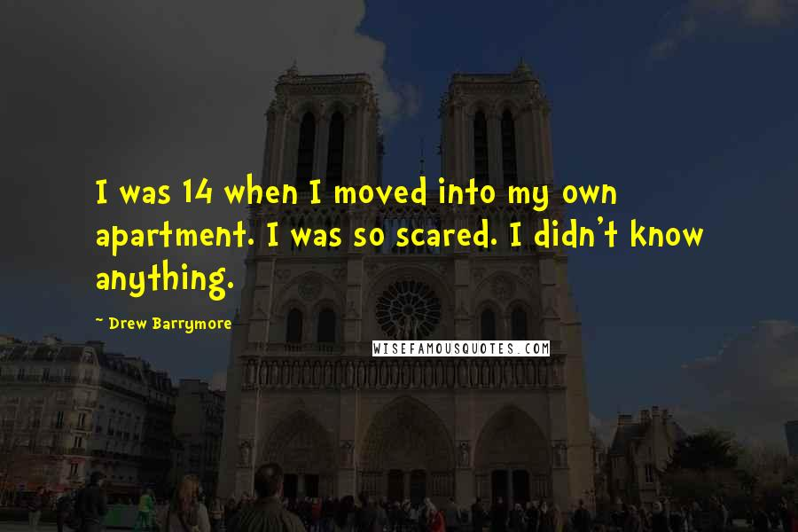 Drew Barrymore quotes: I was 14 when I moved into my own apartment. I was so scared. I didn't know anything.